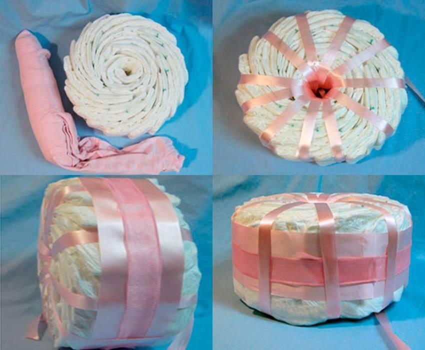 Торт из памперсов своими руками (девочке, мальчику): пошаговое фото, мастер-класс
