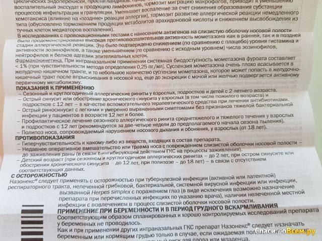 Назонекс — инструкция по применению   справочник лекарств medum.ru