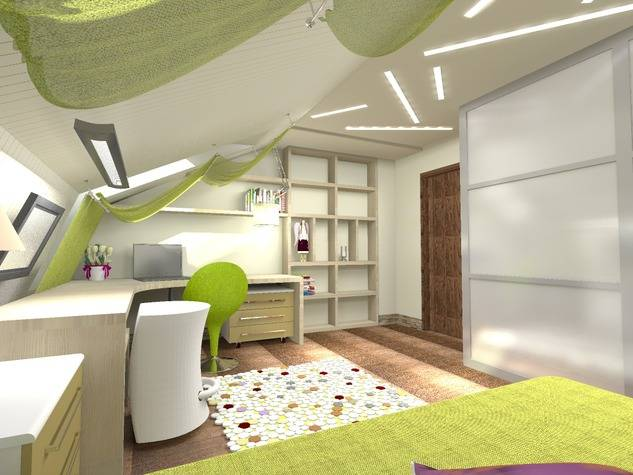 Дизайн интерьера детской комнаты на мансардном этаже для мальчика или девочки: фото-идеи