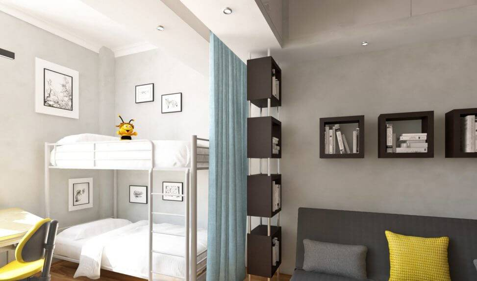 Гостиная и детская в одной комнате: 55 фото, идеи зонирования