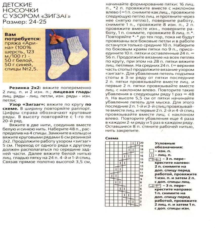 Как вязать носки спицами: схемы для начинающих пошагово
