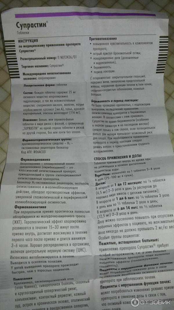 Супрастин в новокузнецке - инструкция по применению, описание, отзывы пациентов и врачей, аналоги