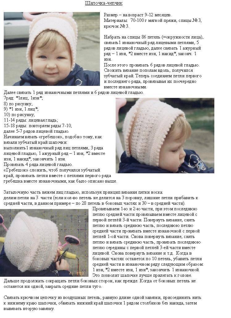 Чепчик спицами для новорожденного: описание вязания, видео