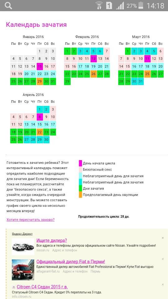 Календарь зачатия: рассчитать онлайн калькулятором благоприятные дни, когда можно зачать ребенка