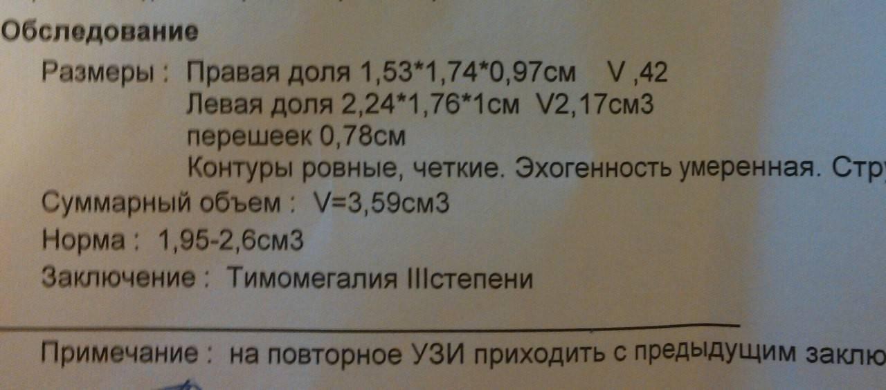 Нормы узи размеров тимуса