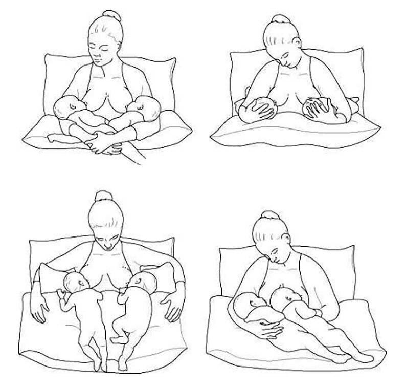 Позы кормления грудью удобные для мамы и правильные для ребенка.