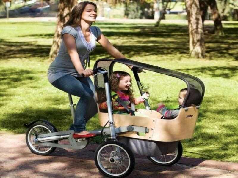 Велосипед коляска: для ребенка - детская модель, для мамы - взрослая (фото)