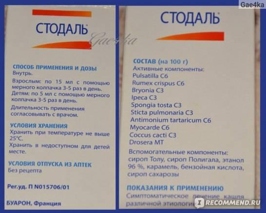Стодаль в уфе - инструкция по применению, описание, отзывы пациентов и врачей, аналоги