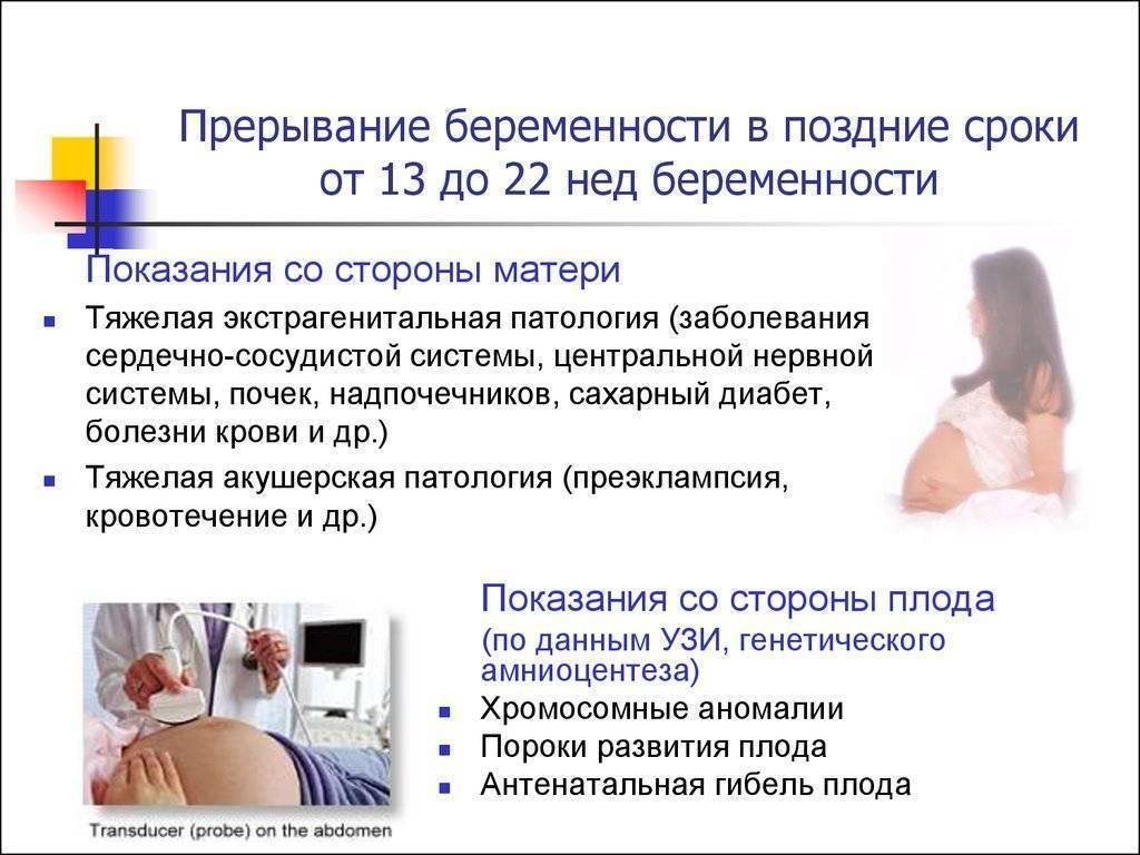 Прерывание беременности на поздних сроках. медицинские показания для прерывания