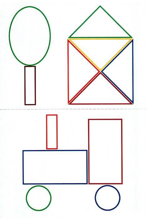 Использование игр и упражнений на воссоздание из геометрических фигур образных и сюжетных изображений