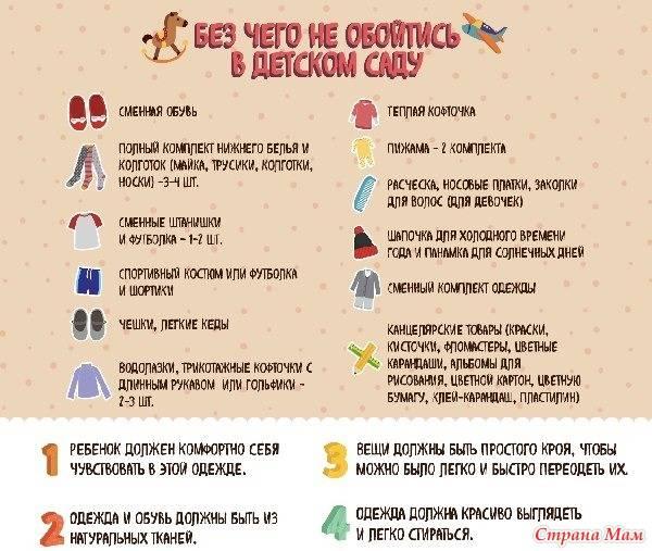 Какие вещи нужны ребенку в детский сад: список для девочек и для мальчиков