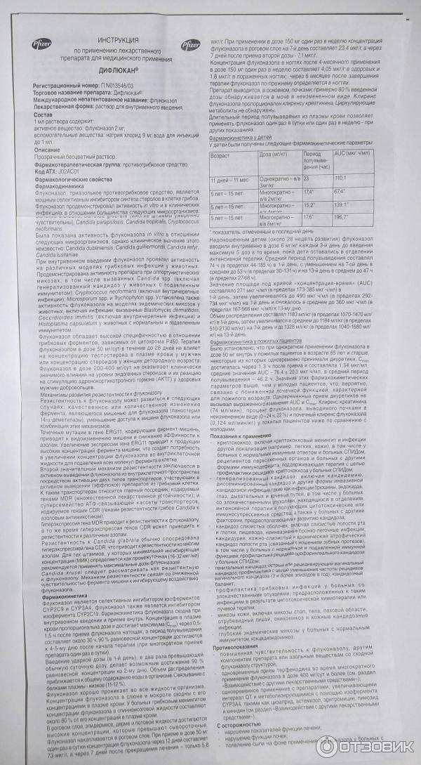 Дифлюкан — инструкция по применению   справочник лекарств medum.ru