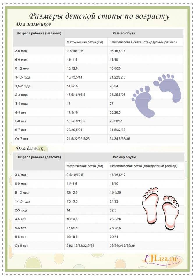 Размер обуви и ноги ребенка: 7 таблиц по возрасту, длине стопы и стельки, калькулятор