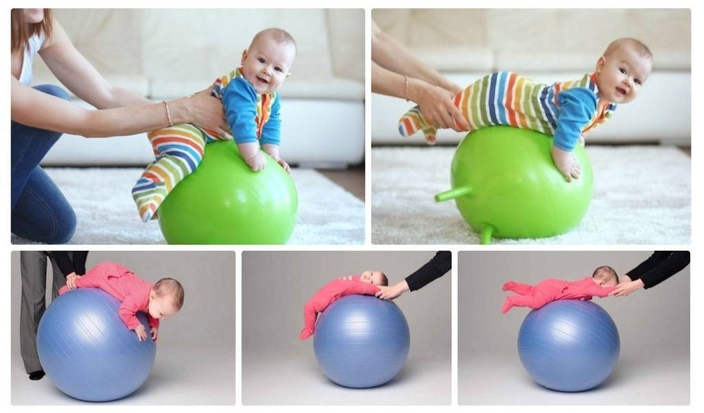 Упражнения на фитболе для грудничков: занятия и гимнастика на мяче для детей