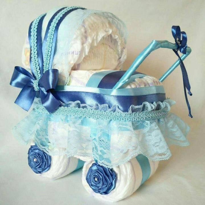 Коляска из памперсов (20 фото): как пошагово своими руками сделать коляску из подгузников для девочек и мальчиков