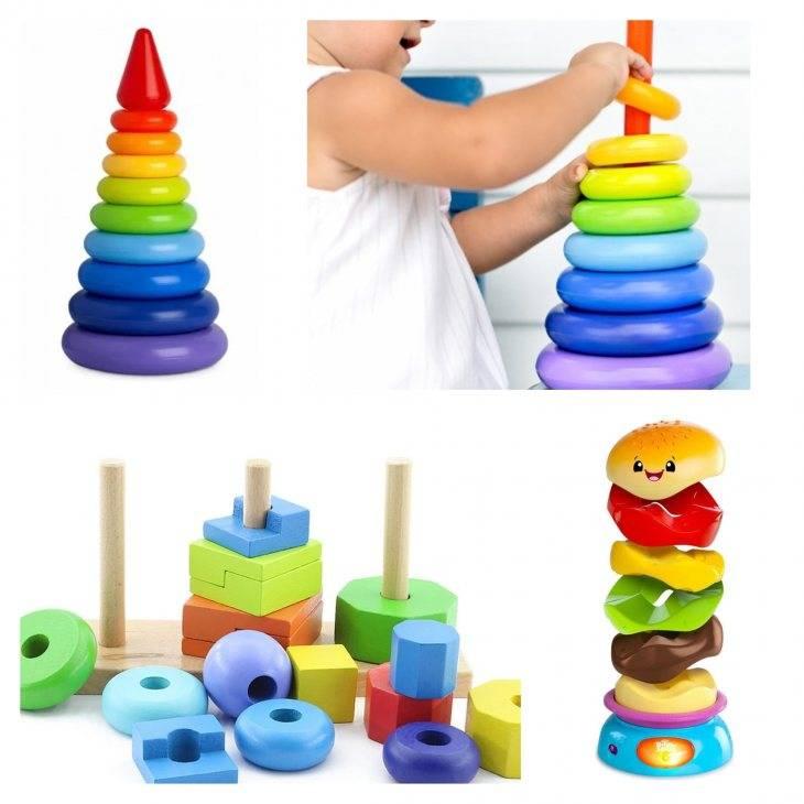 Как научить ребенка собирать пирамидку из колец?