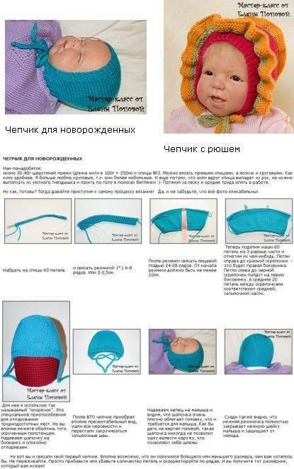 Шапочка для новорожденного спицами - топ 20 самых простых и красивых