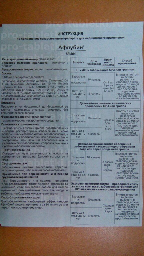 Афлубин - инструкция по применению, описание, отзывы пациентов и врачей, аналоги