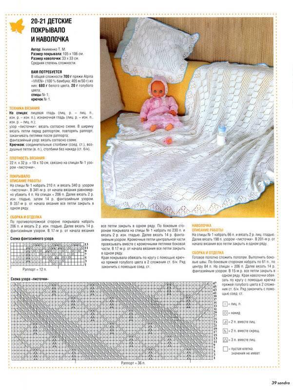 Плед спицами детский для новорожденного