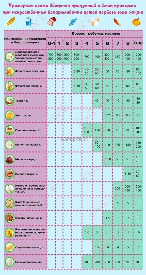 Когда вводить прикорм при смешанном вскармливании: таблица и схема по месяцам | konstruktor-diety.ru