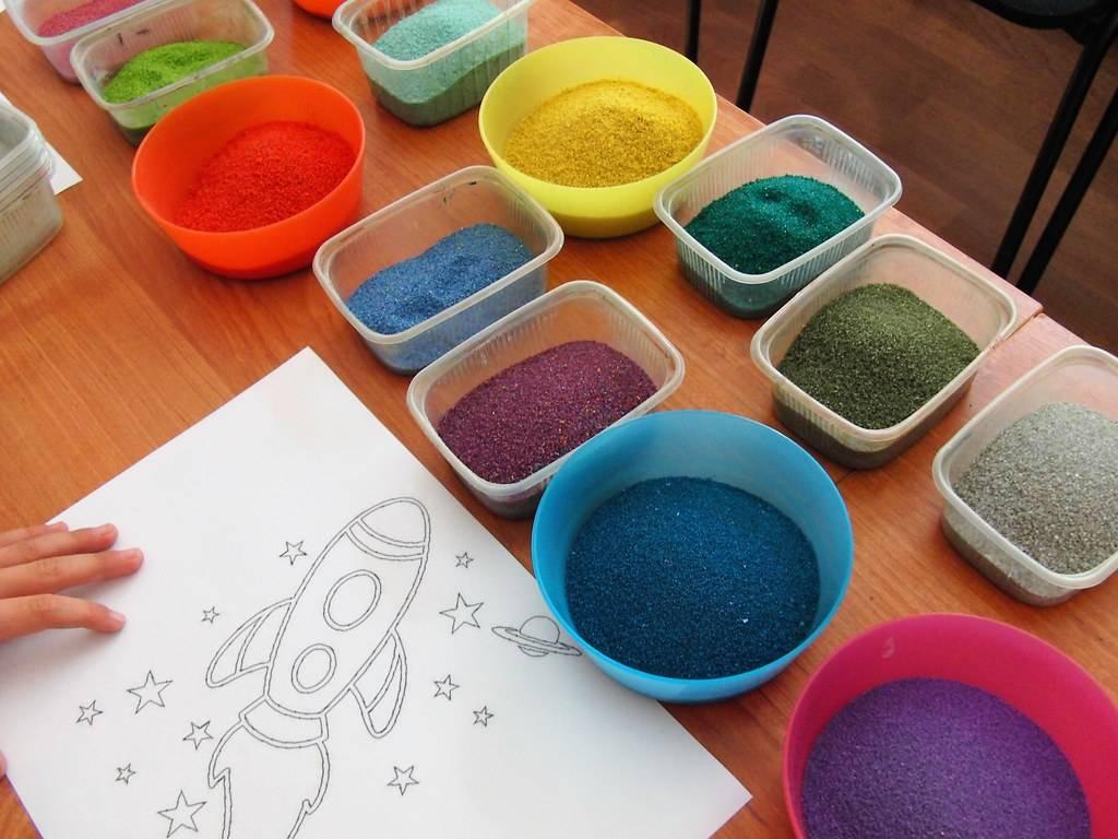 Конспект занятия «картины из цветного песка» (старшая группа)