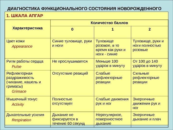 Шкала апгар: полная расшифровка, таблица и оценка состояния