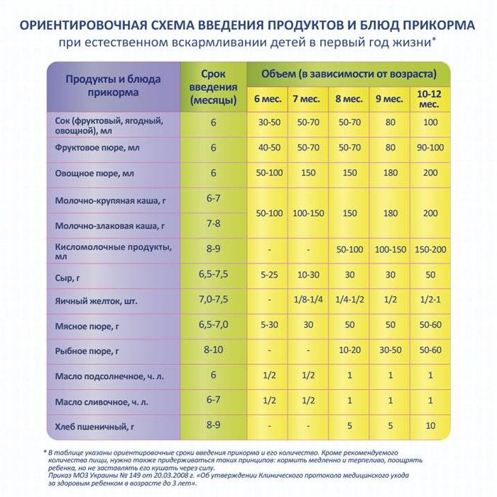 Введение первого прикорма при смешанном вскармливании: схема и таблица по месяцам до года