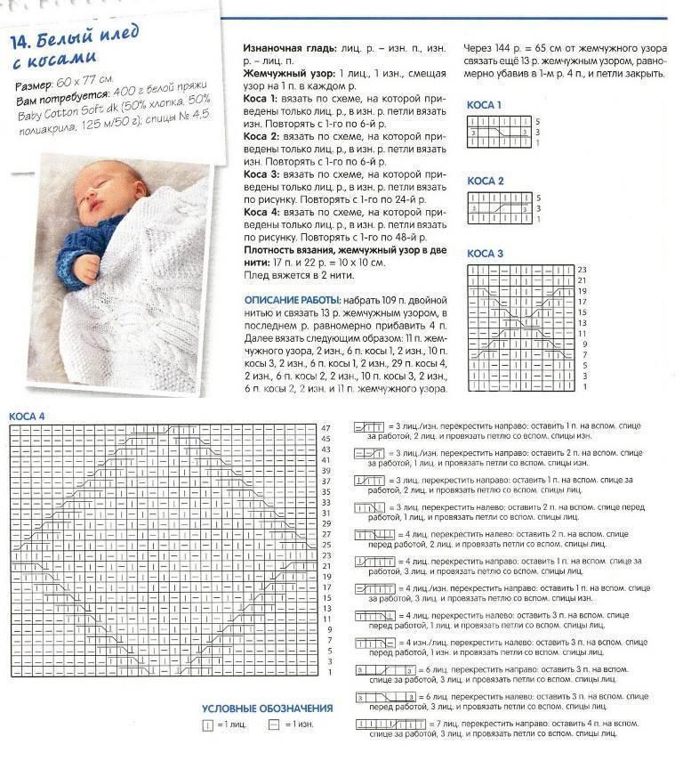 Плед для новорожденного спицами: схема и подробное описание вязания для начинающих