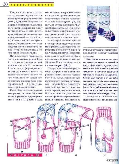 Нюансы вязания носков на двух спицах, подробное описание