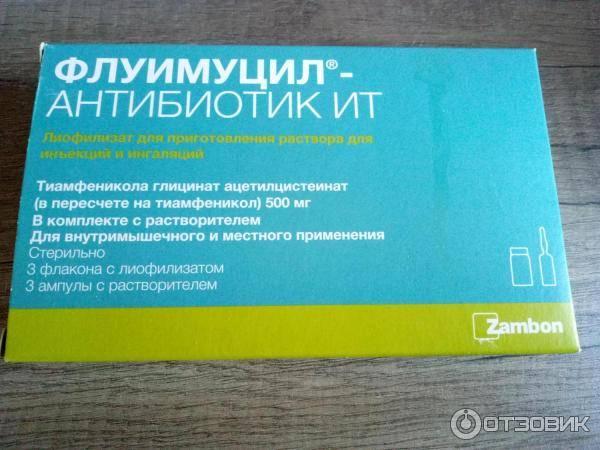 Флуимуцил-антибиотик ит лиофилизат для приготовления раствора для инъекций и ингаляций 500 мг флаконы 3 шт. в комплекте с растворителем