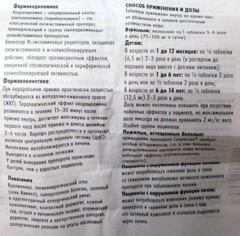 Супрастин - инструкция по применению, описание, отзывы пациентов и врачей, аналоги
