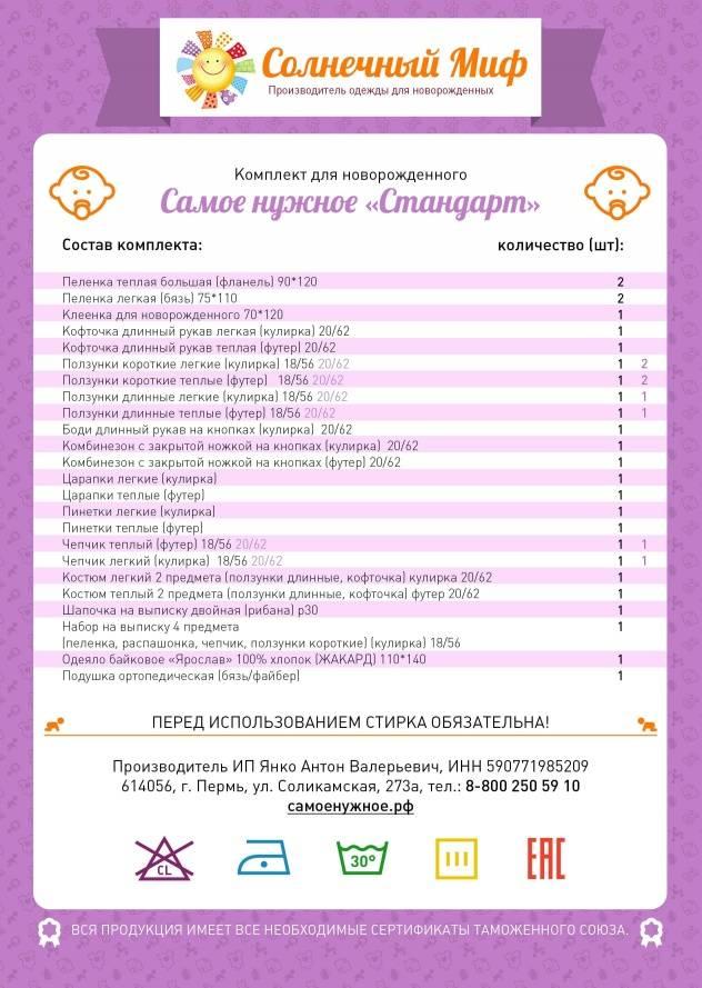 Вещи необходимые для новорожденных в первые месяцы жизни: что нужно, список