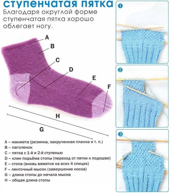 Вязание носков на 2 спицах — самые простые способы связать мужские, детские, короткие носки