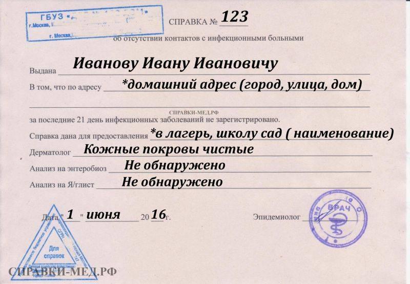 Справка в детский лагерь (форма 079/у) (александров) | парацельс