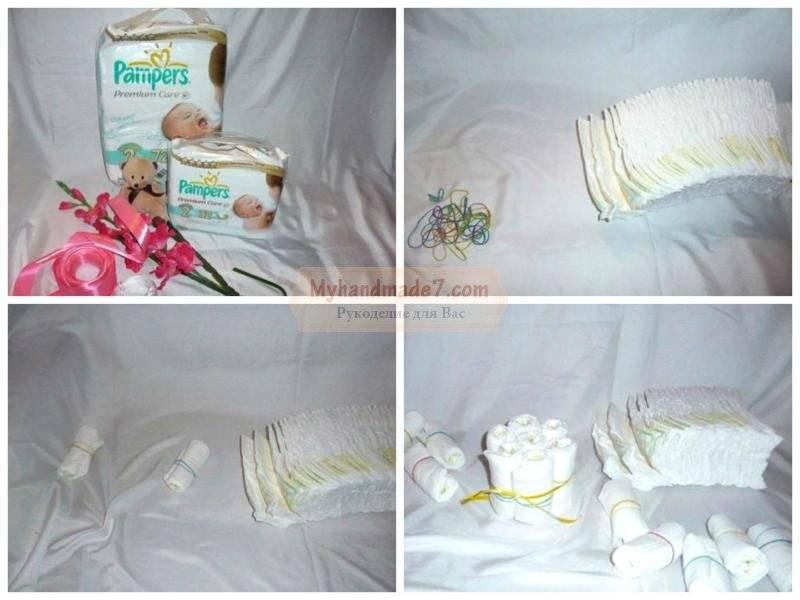 Торт из памперсов своими руками пошагово с фото, видео и мастер-классом