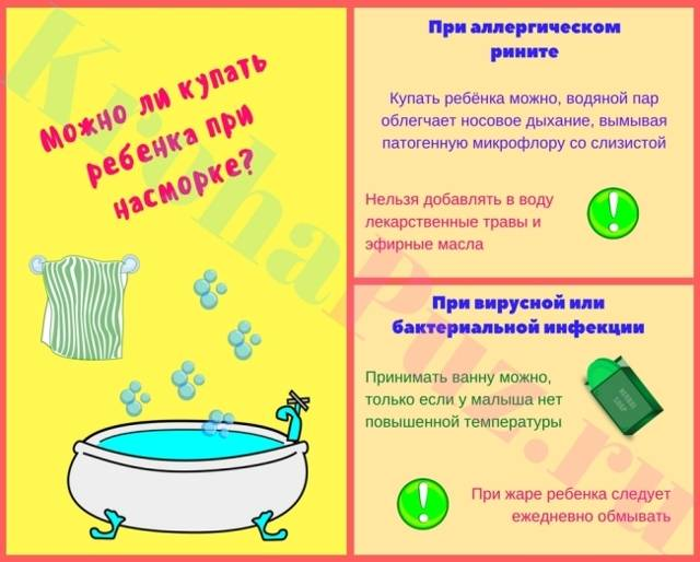 Можно ли купать ребенка при насморке, температуре, кашле, бронхите (Комаровский)
