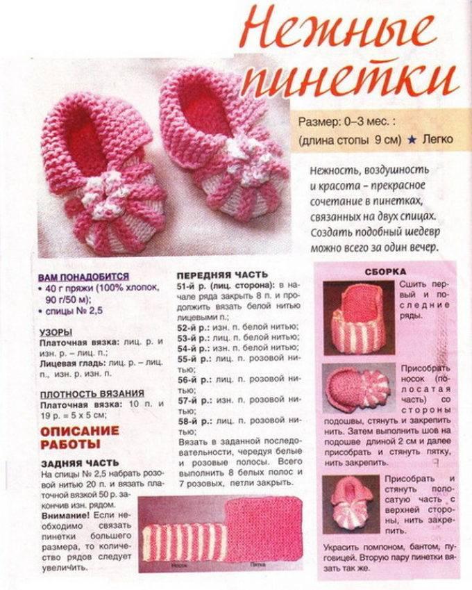 Пинетки спицами для новорожденных - схема и мастер класс с описанием (от 0 до 3 месяцев)
