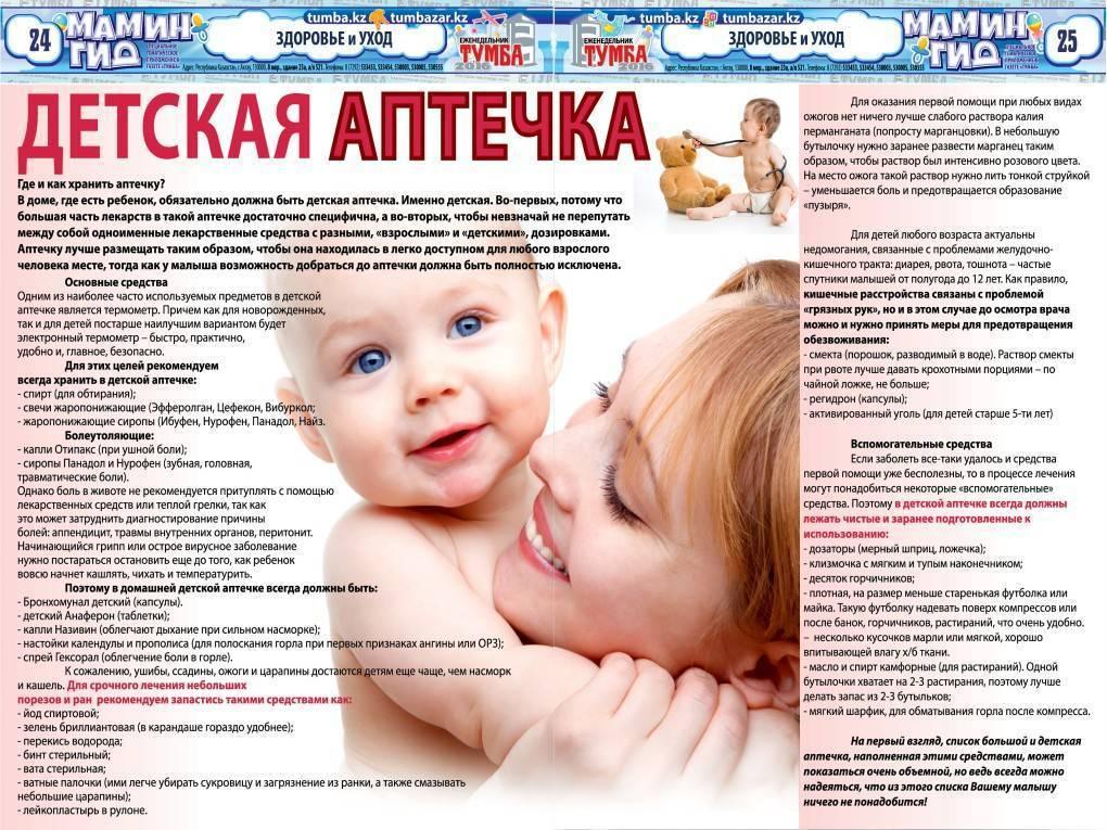 Детская аптечка - состав детской аптечки для новорожденного в клинике «мать и дитя» в москве