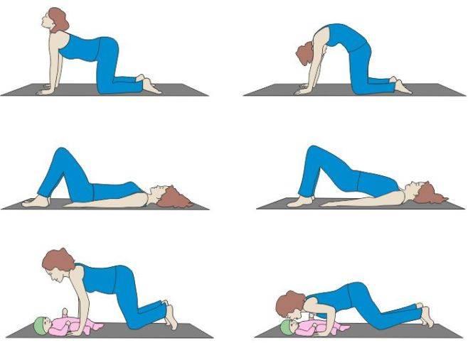 Как убрать животик после родов (7 упражнений в картинках + видео)