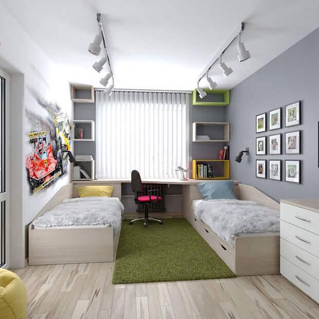 Детская комната 10 кв м для девочки и мальчика (35 фото)