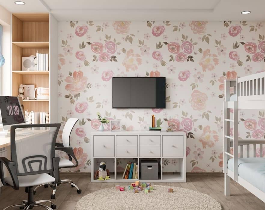 Актуальные обои для детской комнаты: комбинированный дизайн