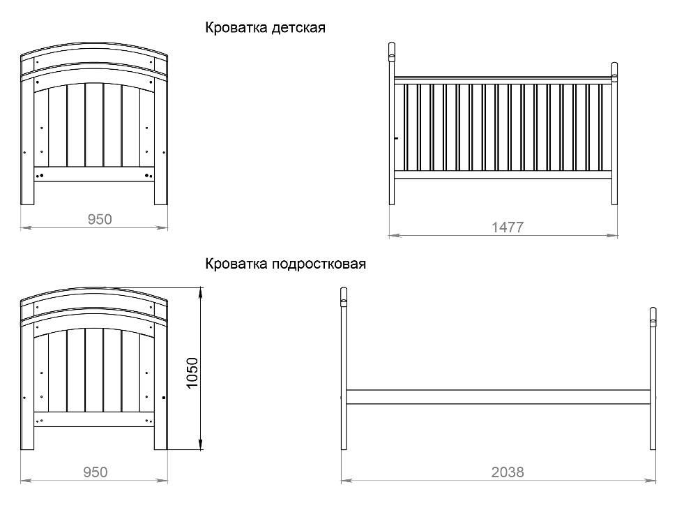 Размеры подростковой кровати: стандарты детской кровати