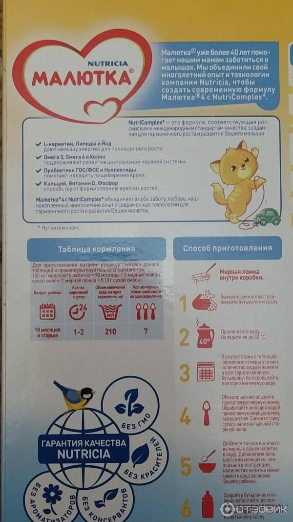 Детская смесь малютка для новорожденных: отзывы, состав, цена