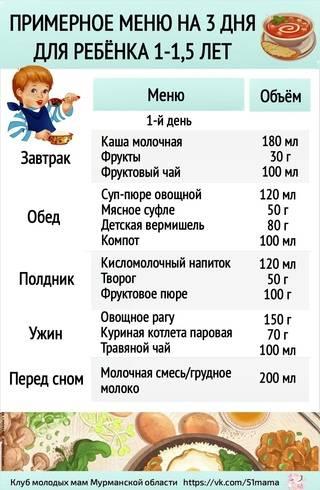 Меню на неделю для ребенка 2 – 3 лет