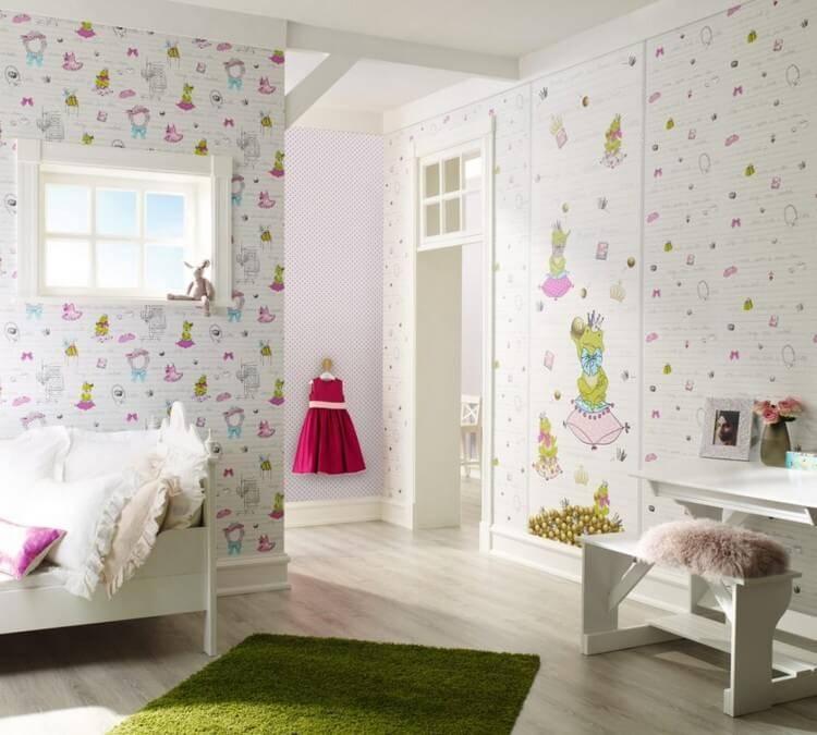 Детские обои (171 фото): модели в комнату для стен в полоску, с динозаврами, для рисования, варианты в интерьере