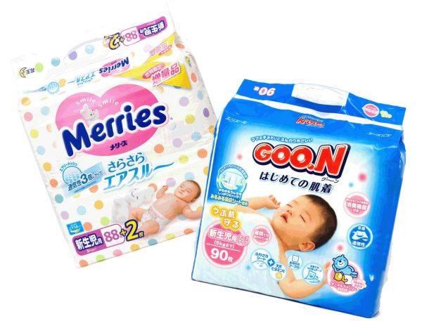 Размеры подгузников (merries, goon и другие)   блог дочки-сыночки