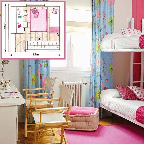 Детская комната для двух девочек: дизайн для разного возраста, фото, варианты планировки, оформления