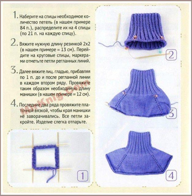 Манишка спицами для женщин - схемы вязания с описанием - как связать манишку для девочки или мальчика - новые модели 2018-2019 - видео мастер-класс