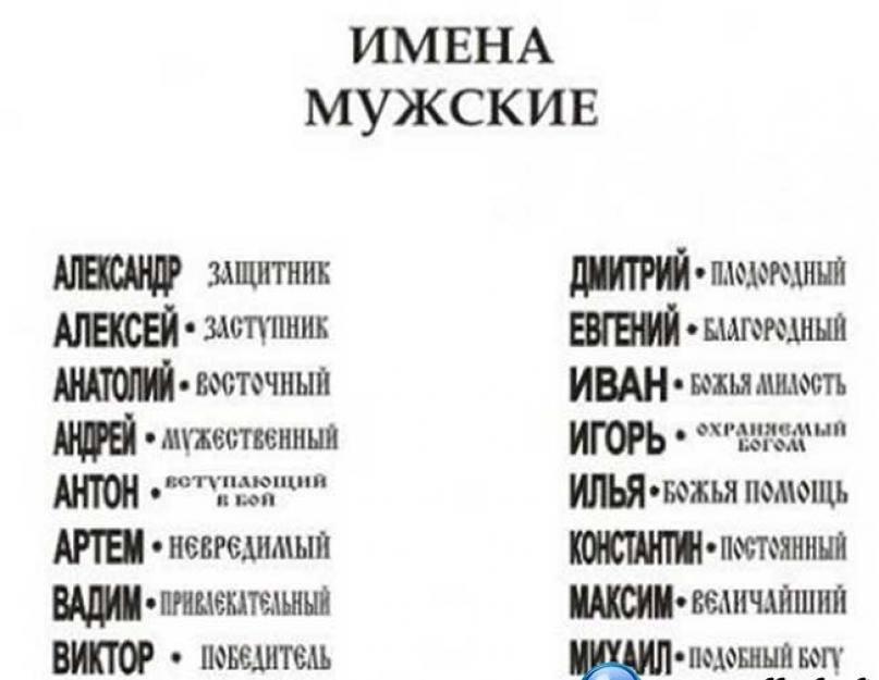 Особенности выбора красивого и современного русского мужского имени