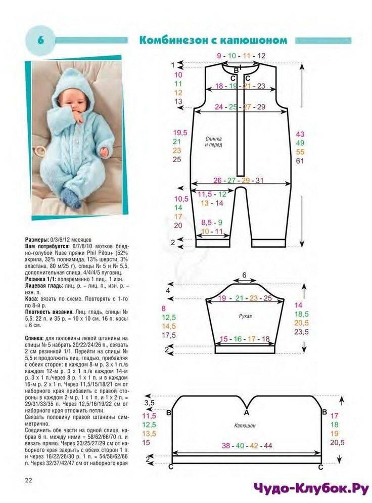 Вязаный комбинезон для новорожденного: схема с описанием